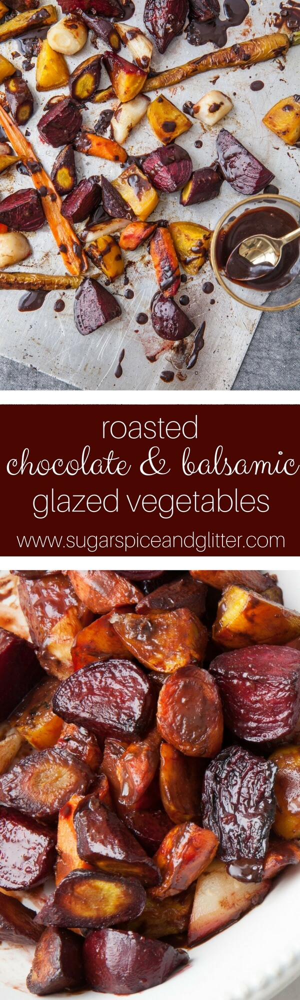 An easy roasted vegetable side dish, this Chocolate Balsamic vegetable dish is such a fun and unusual recipe for a Willy Wonka movie night or a potluck recipe that will get everyone talking