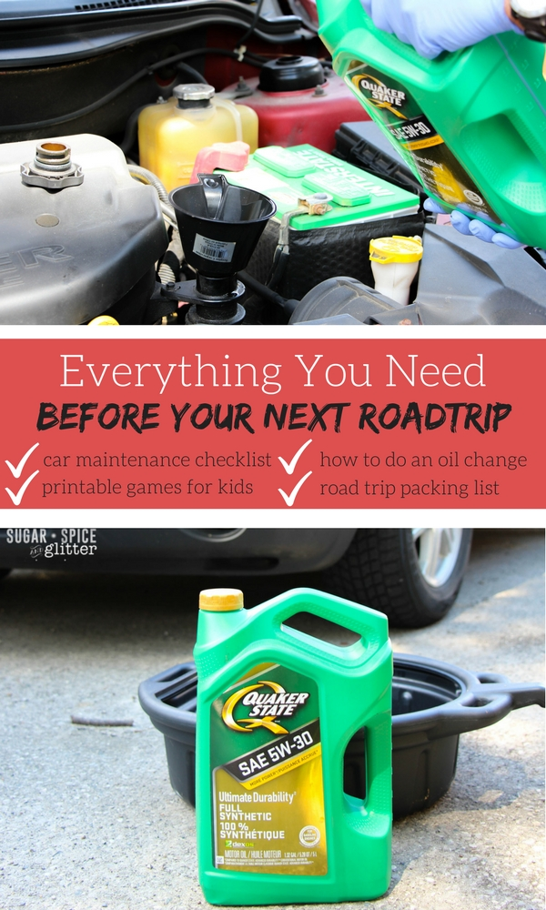 Everything you will need before your next road trip - car maintenance checklists, printable games for kids, a step-by-step guide on how to do a DIY oil change, and a printable road trip packing list