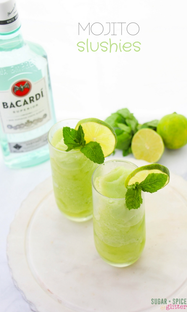 Mojito Slushies, a refreshing mint rum cocktail recipe perfect for summer. The height of the slushy cocktail trend