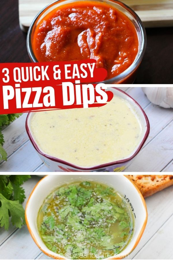 Spicy marinara, garlic parmesan and a buttery herb pizza dip - 3 easy pizza dips ready in under a minute! The perfect addition to your family pizza night