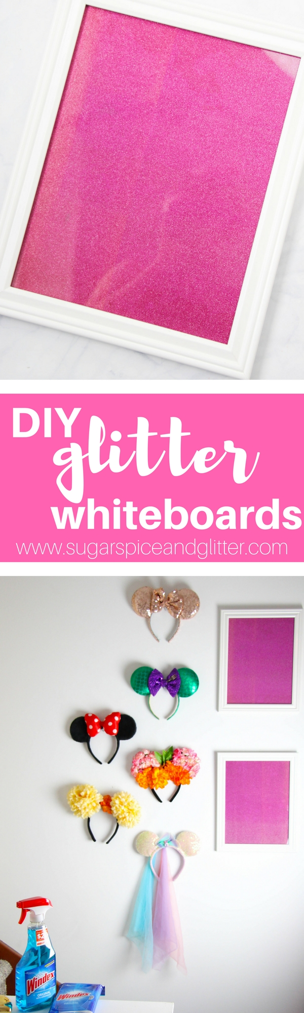 DIY Glitter Boards to add some sparkle to your office. A fun organization DIY for kids' homework and chore lists, too