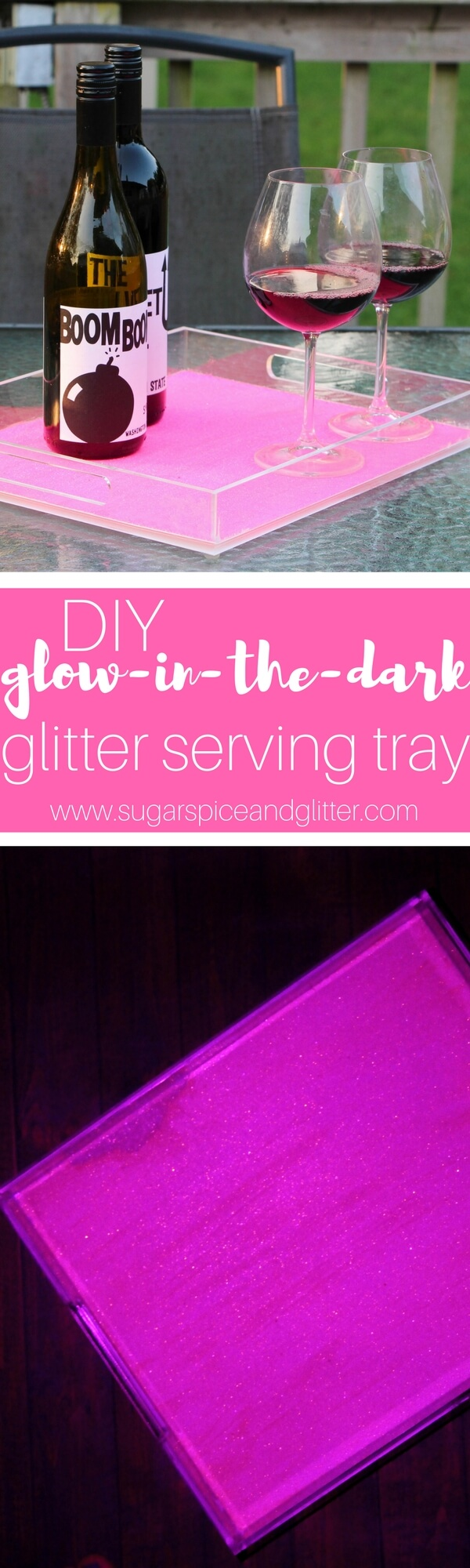DIY Glitter Glow-in-the-Dark Tray is the perfect entertaining DIY, especially for nighttime cocktails