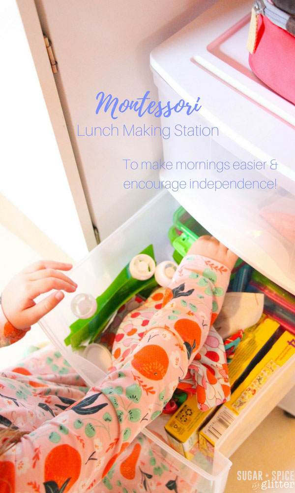 Back to School Montessori Lunch Station to make mornings easier and encourage independence