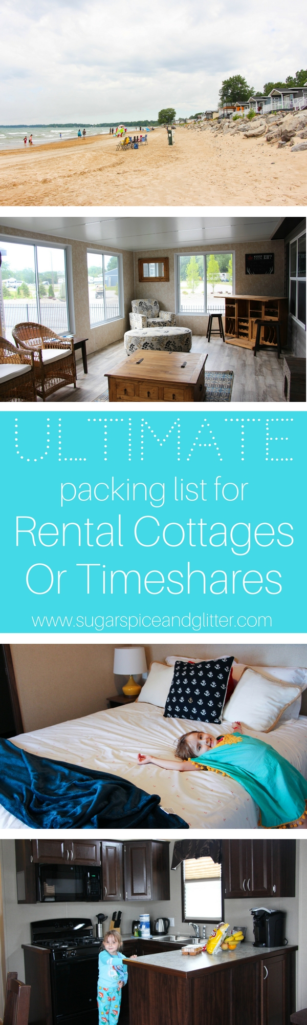 The Ultimate Packing list for Rental Cottages or Timeshares so you can leave for your vacation organized and stay on budget
