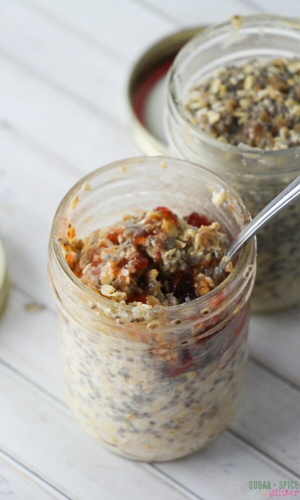 Peanut butter and jam overnight oatmeal with chia seeds. A delicious no-cook breakfast recipe you can prep the night before