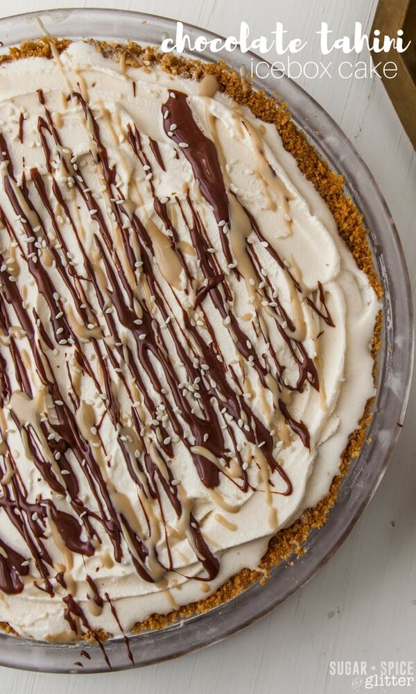A fun take on the Tahini Dessert trend, this Tahini Cream Pie is a no-bake dessert with very little sugar!