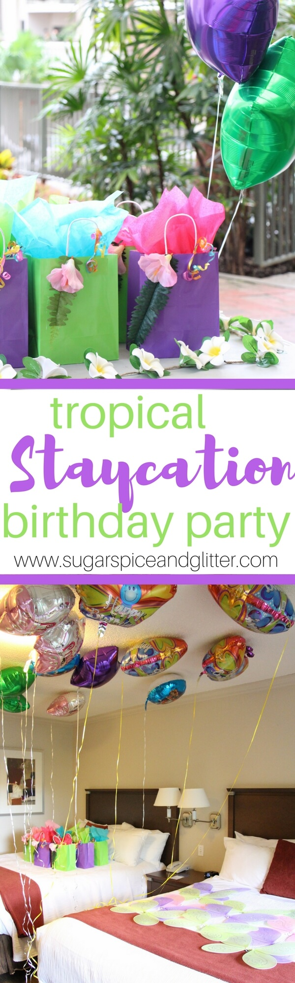 DIY Tropical Gift Bags and a Tropical Staycation Party Idea. Perfect for a Moana-themed party or a fun sleepover party theme