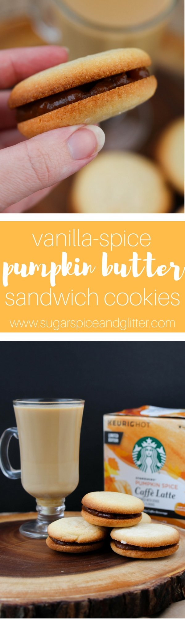 Spiced vanilla butter cookies with two delicious filling options – pumpkin butter and apple butter. The perfect easy fall cookie for pairing with a hot Pumpkin Spice Cafe Latte