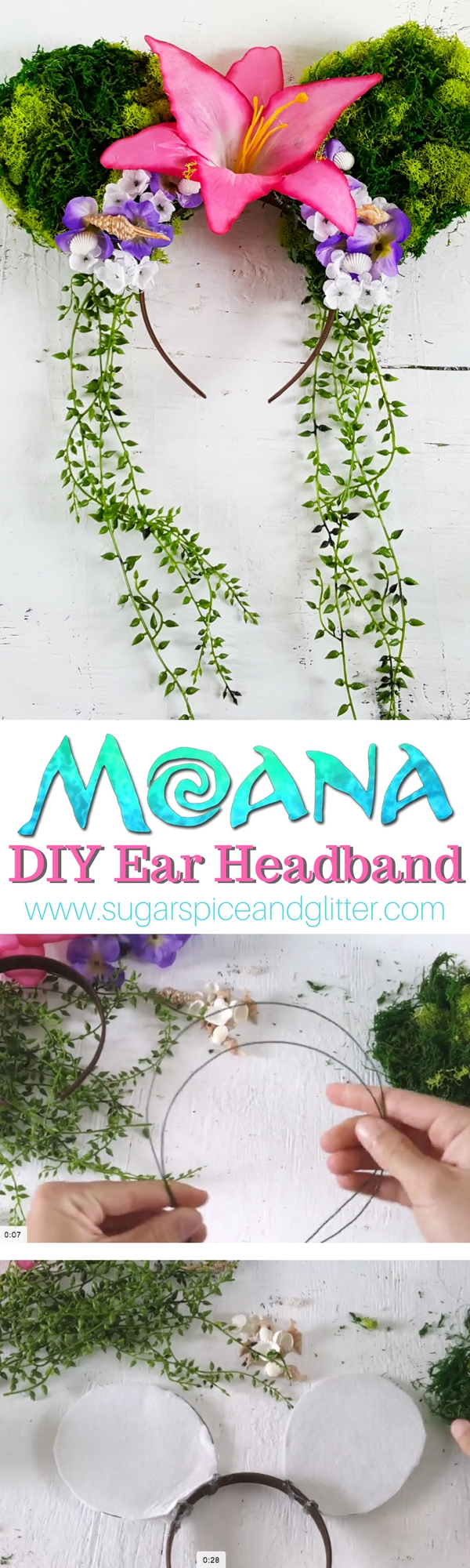 Moana Tefiti Mickey Mouse Ears perfect for a Moana party or DIY accessories for wearing to DisneyWorld