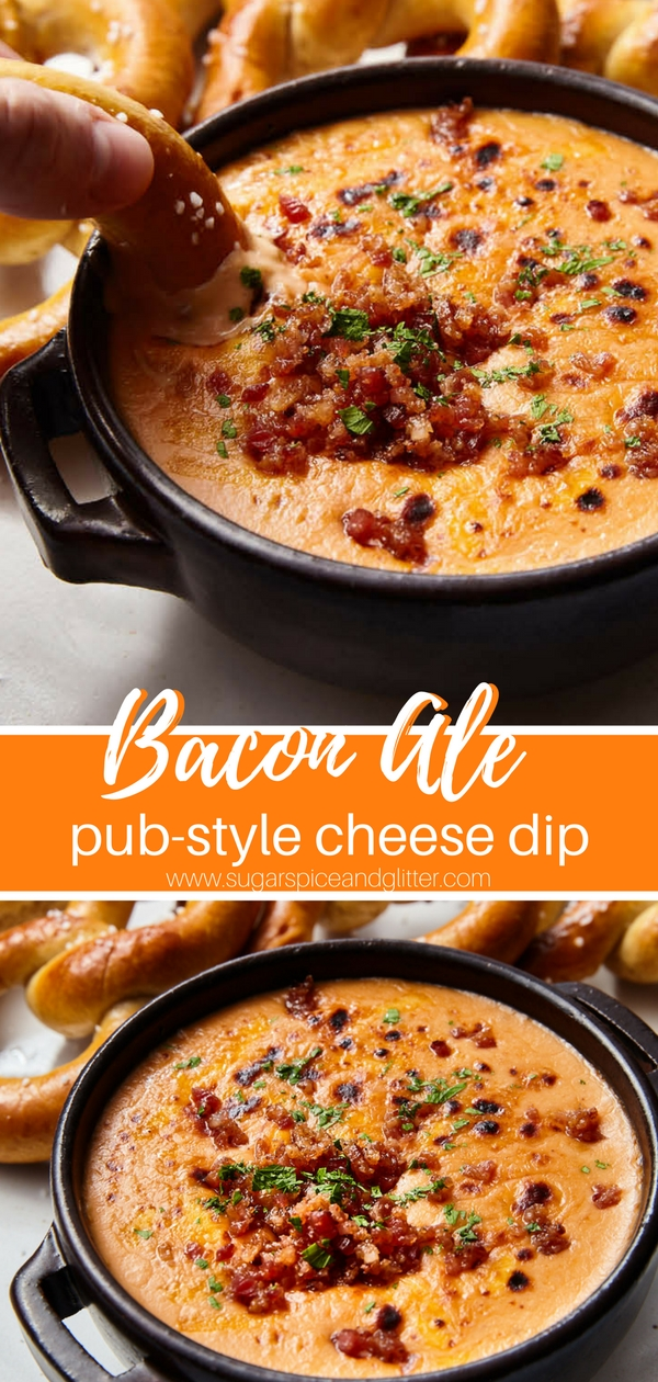 A fun twist on Welsh Rarebit (like our Welsh Rarebit Mac & Cheese), this Bacon Ale Cheese Dip is perfect for parties or game nights! Pub food you can make at home