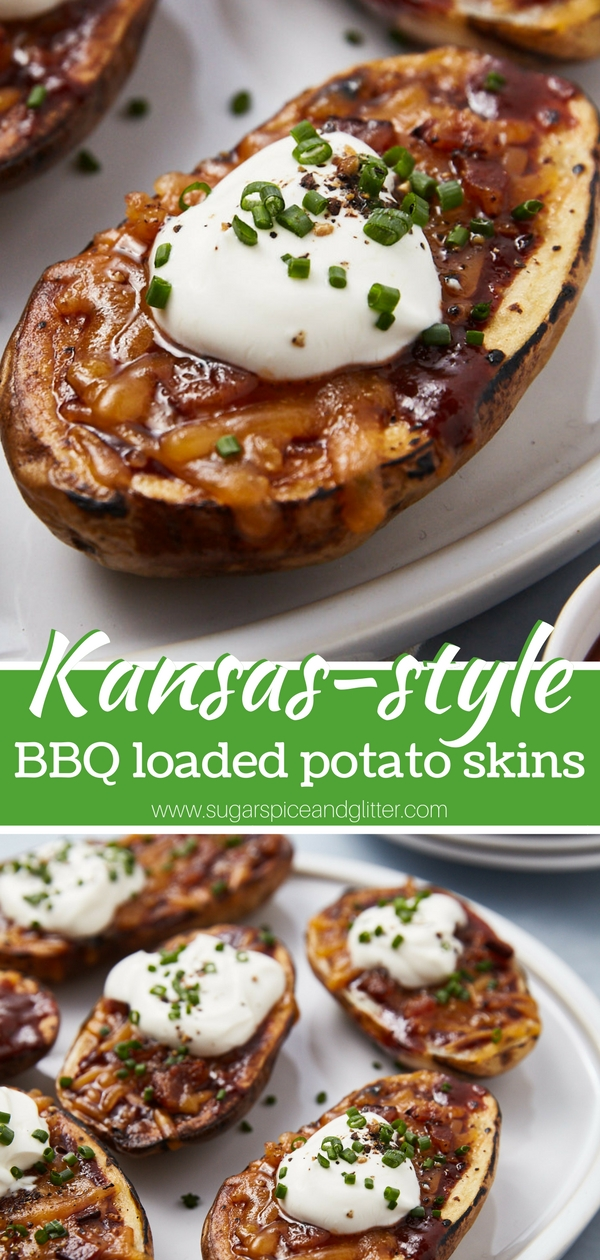 Easy Loaded Baked Potato recipe for BBQ style loaded potato skins - the ultimate comfort food appetizer. Top with shredded BBQ pork or chicken for an even more indulgent appetizer