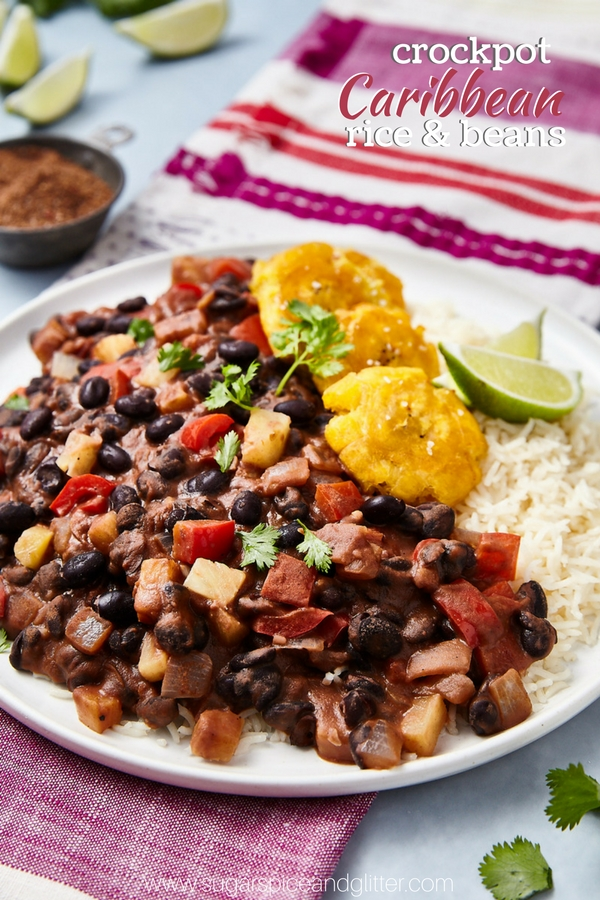 Crockpot Caribbean Rice and beans for a delicious vegetarian protein-packed meal