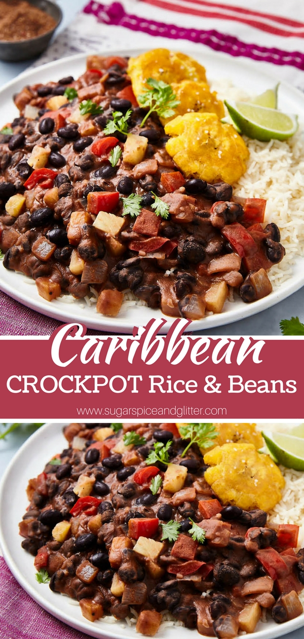 A hearty vegetarian crockpot recipe for Caribbean Rice and Beans