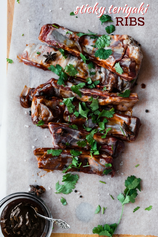 A simple in oven ribs recipe for Cantonese-style Sticky Teriyaki Ribs, a delicious way to prepare succulent pork ribs at home