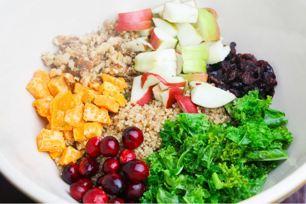 Ingredients for a fall quinoa salad recipe