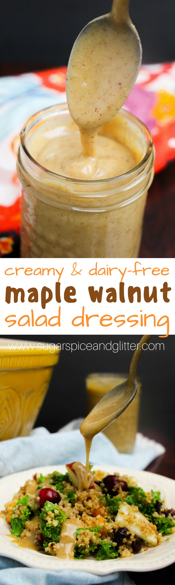 Fresh Fall Quinoa Salad with Maple Walnut Dressing - this creamy dairy-free salad dressing is absolutely amazing!