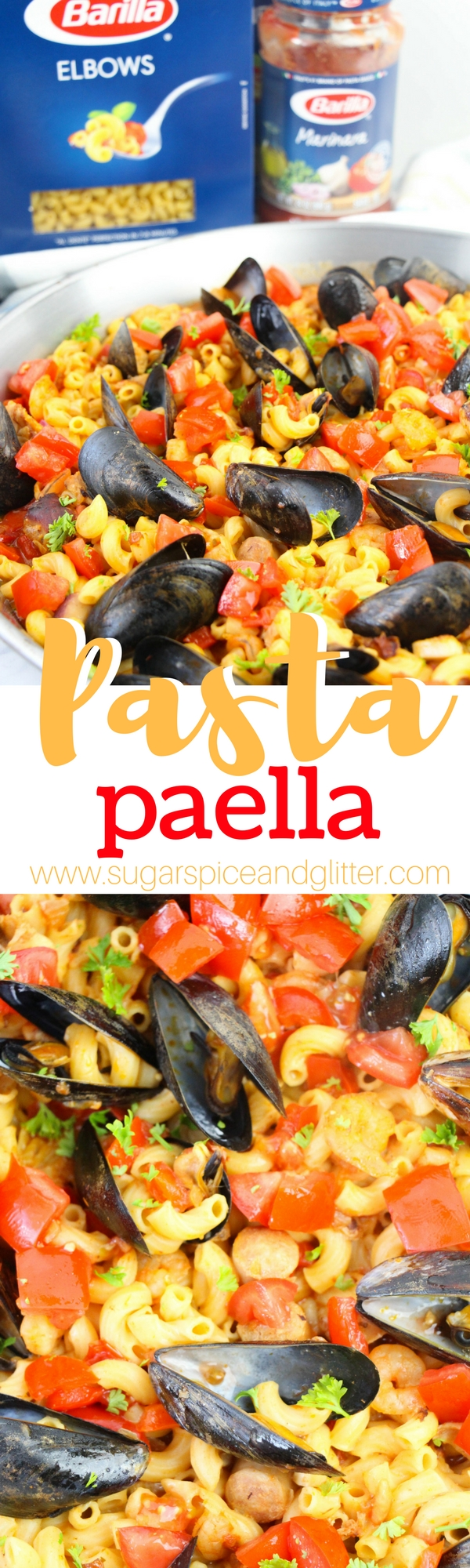 Pasta Paella, a delicious twist on a Classic Paella recipe using pasta to make it more kid-friendly (and quicker to make!) An awesome seafood recipe