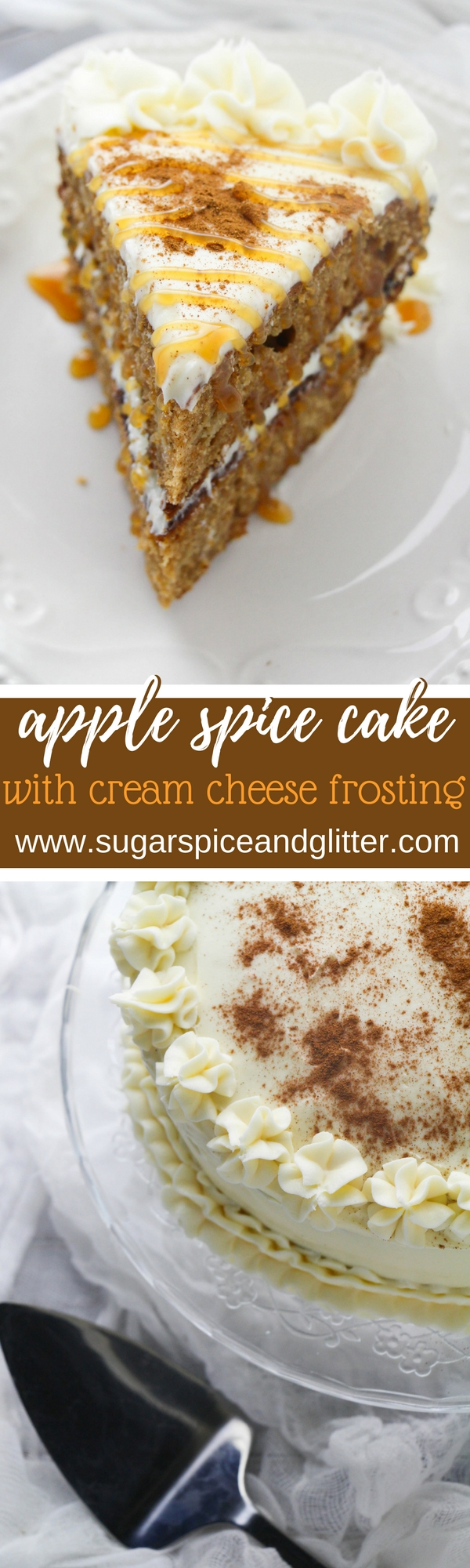 Apple Spice Layer Cake with Cream Cheese Frosting, a delicious fall dessert that will impress your guests and is super easy to make and decorate #apple #cake #falldessert