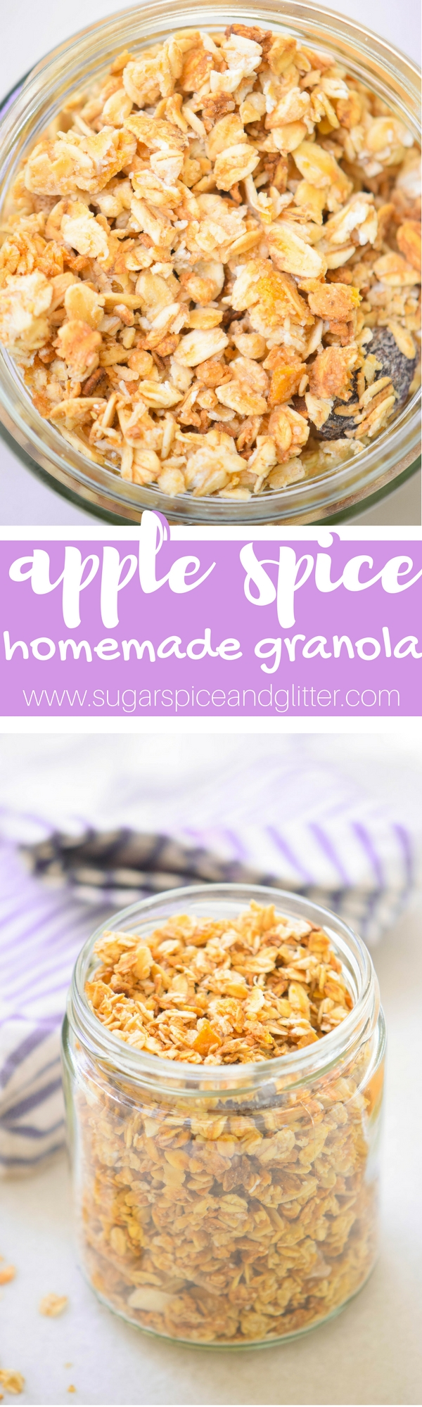 Healthy Homemade Granola sweetened with honey and dates, this Apple Spice granola is perfect for an easy fall breakfast recipe