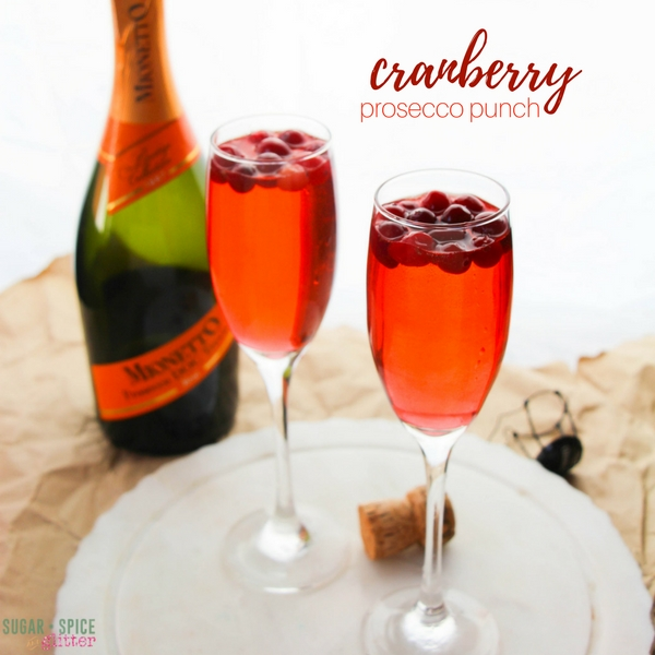 A delicious cranberry prosecco punch - a fun cranberry mimosa for toasting a fall brunch