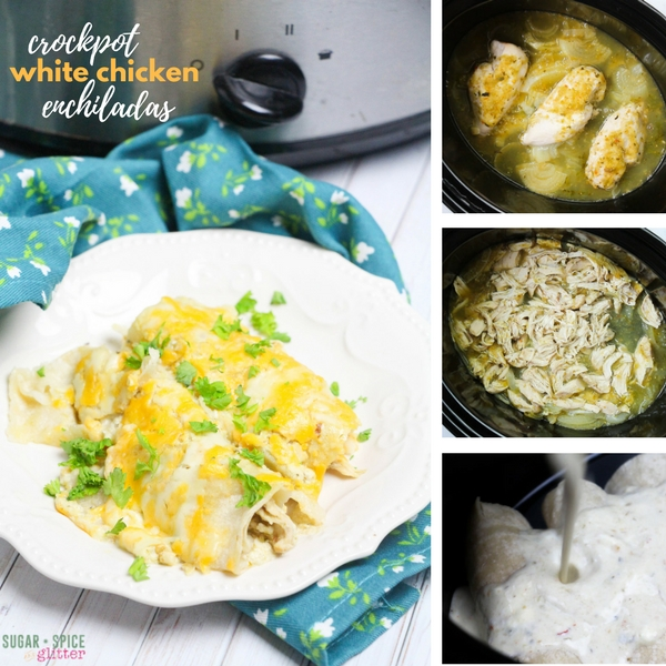 Slow Cooker White Chicken Enchiladas