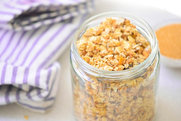 A simple and easy apple granola with prunes, apple chips and apple spice