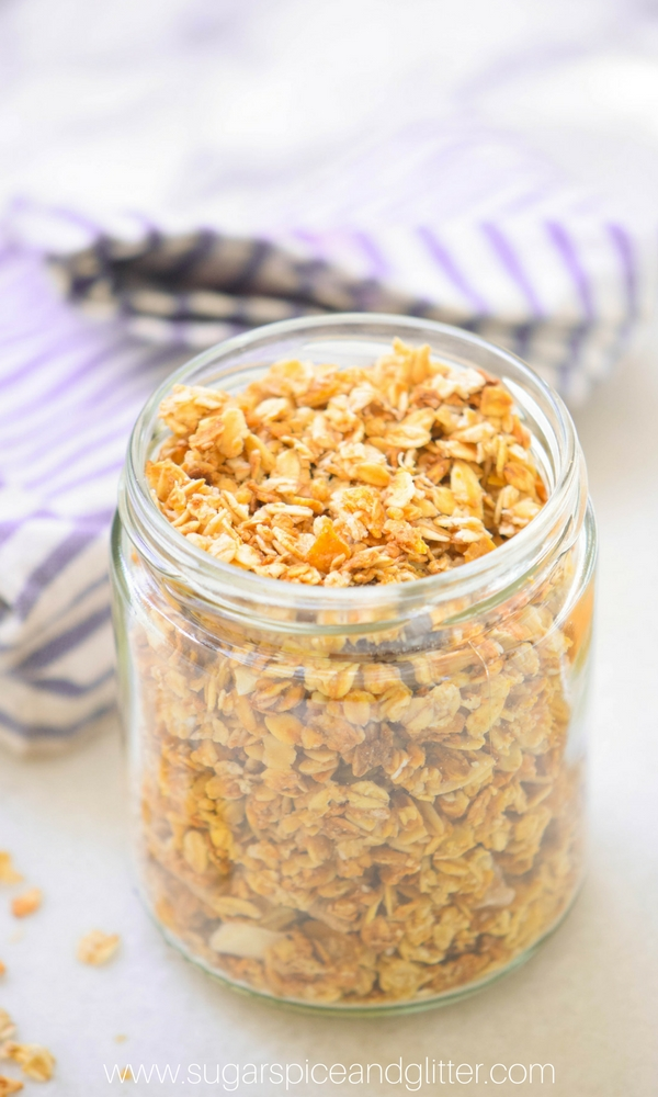This easy apple breakfast recipe is crunchy and hearty  - a delicious combination of dried fruits, honey-sweetened oats and apple spice