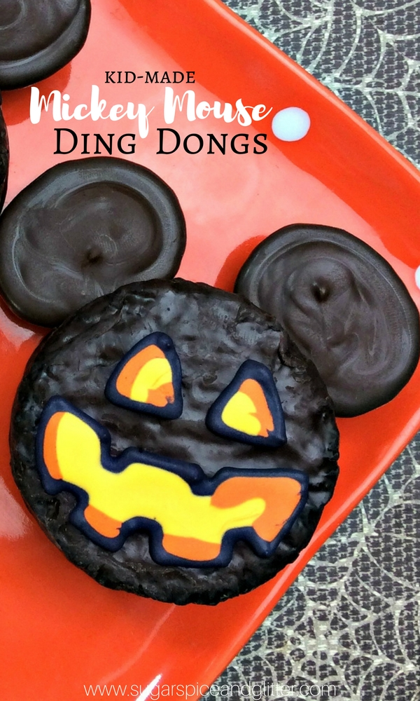 Ding-Dong! These Scrumptious Mickey Mouse Ding-Dongs are all treat, no tricks! A deliciously easy, no-bake Disney Halloween dessert kids can help make.