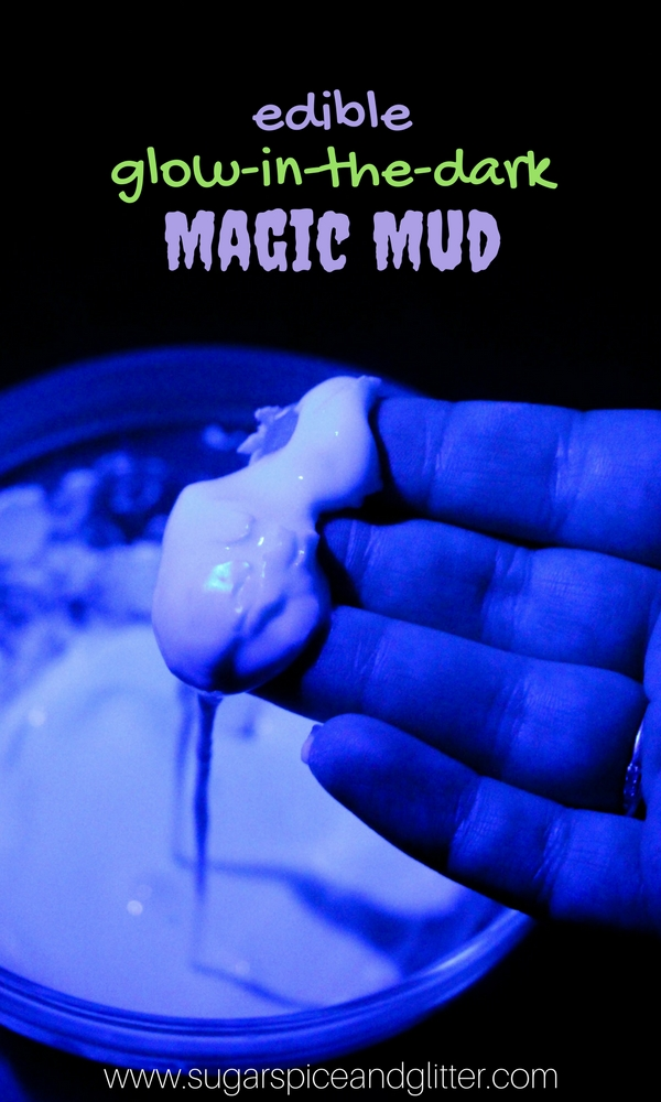 An edible glow-in-the-dark sensory activity for kids - EDIBLE MAGIC MUD! A fun take on the edible slime craze that needs just two ingredients - plus a fun hack to turn your phone into a blacklight