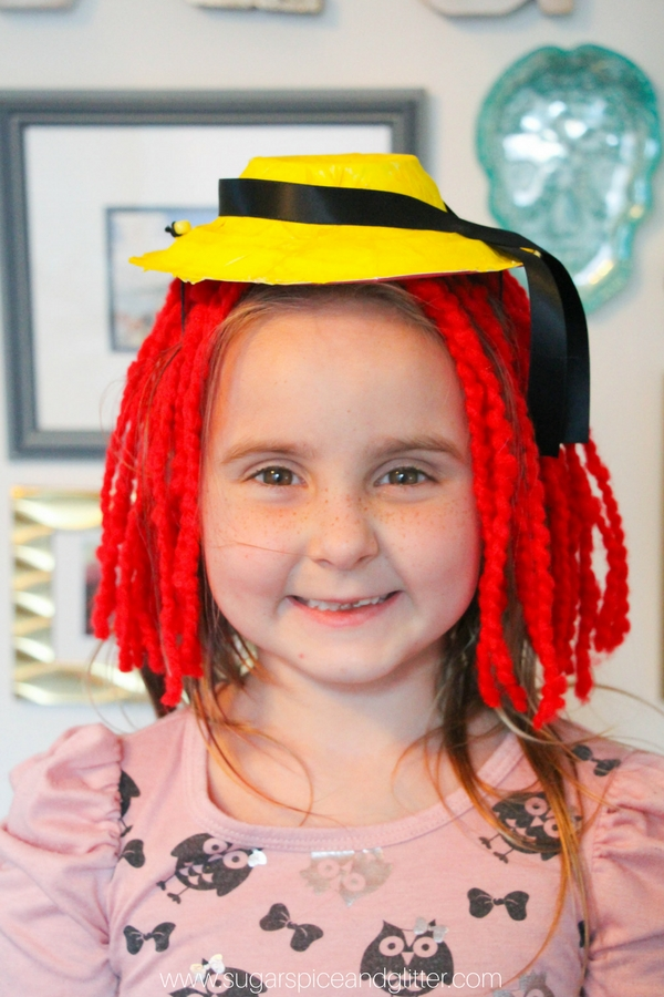 How cute is this easy Madeline hat craft for an activity after reading the classic picture book? (You can trim the hair if desired)