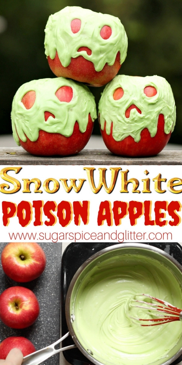 A delicious Disney Halloween recipe, these Chocolate Covered Apples are inspired by Snow White's Poison Apples - they would be perfect for a Halloween party