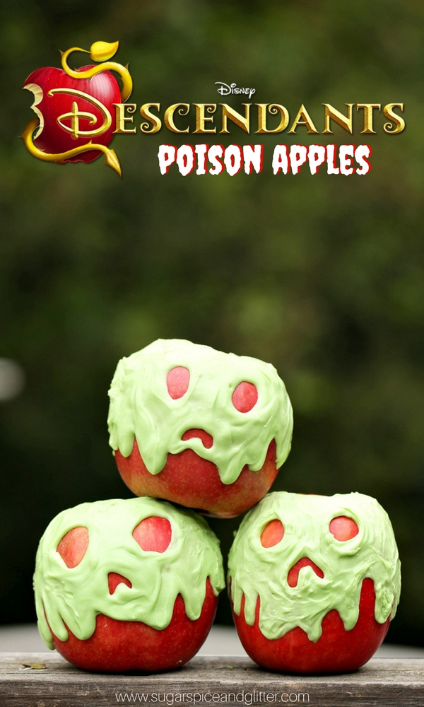 Disney Descendants-inspired Poison Apples are a fun Disney Candy Apple you can make at home. (Also great for a Snow White theme!)