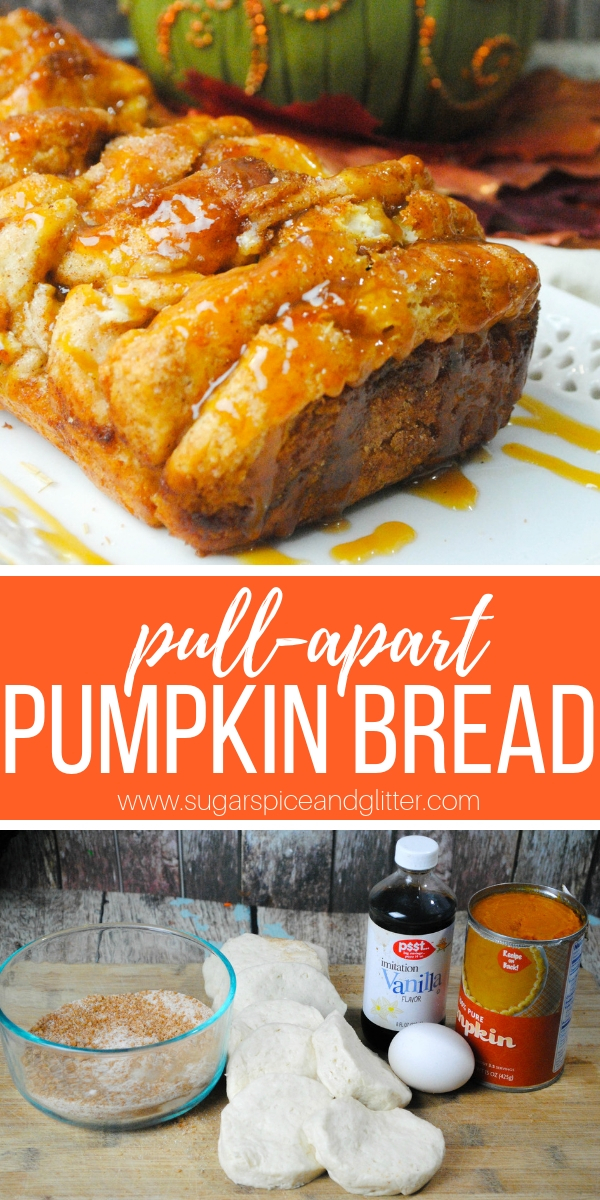 This pumpkin pull apart bread is made with biscuits and homemade pumpkin pie filling; a cinnamon pull apart bread with a fall twist! A sticky dessert bread perfect for a quick fall dessert