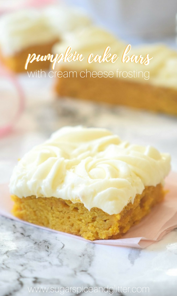 Pumpkin Bar with Cream Cheese Frosting - a soft and dense pumpkin slab cake with melt in your mouth cream cheese frosting