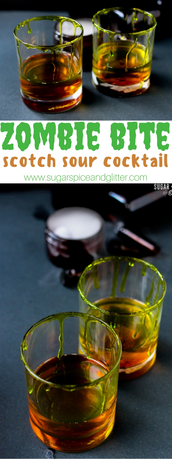 A delicious way to enjoy scotch - a classic Scotch Sour Cocktail with a Halloween twist. This Zombie Bite cocktail grabs your attention with a sour note, then lets you settle in to the sharp smokiness of the scotch and then mellows back out with a lingering lemon flavor