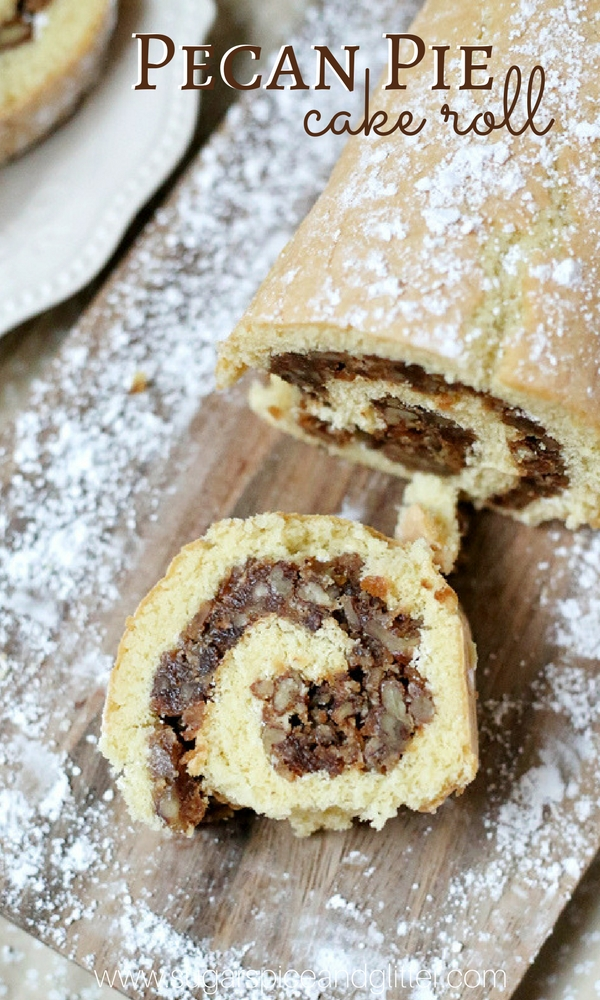 This easy and delicious cake roll is the best of both worlds - a soft, vanilla sponge cake wrapped around a crunchy pecan pie filling with no corn syrup.