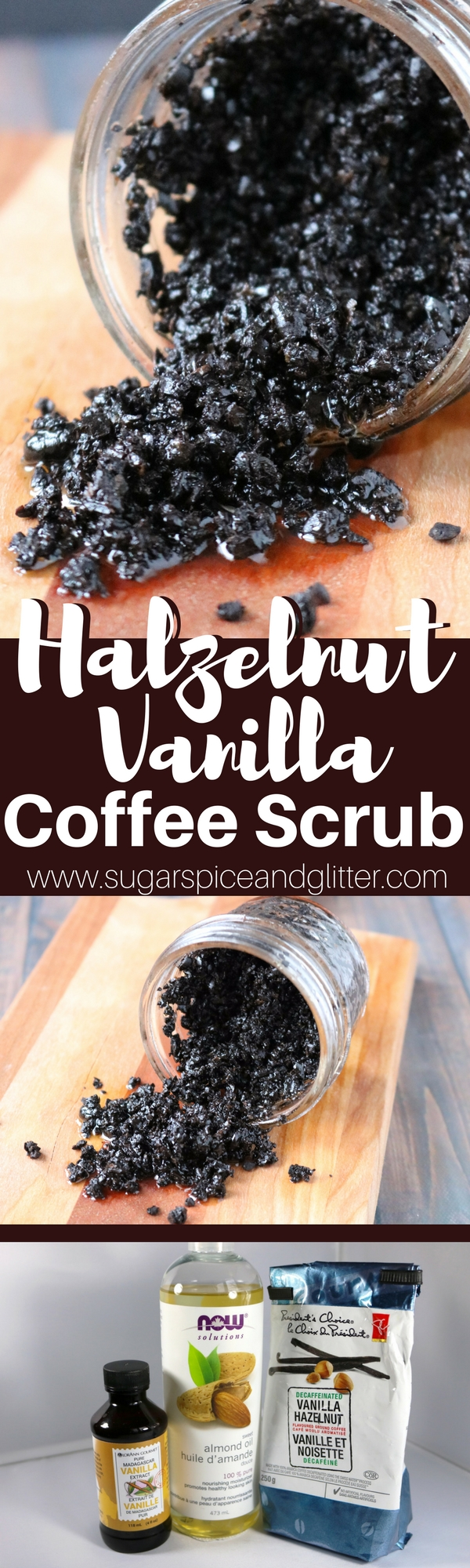 Coffee doesn't just belong in your cup in the morning! This DIY Hazelnut Vanilla Coffee Scrub is great for skin renewal - especially cellulite or stretch marks