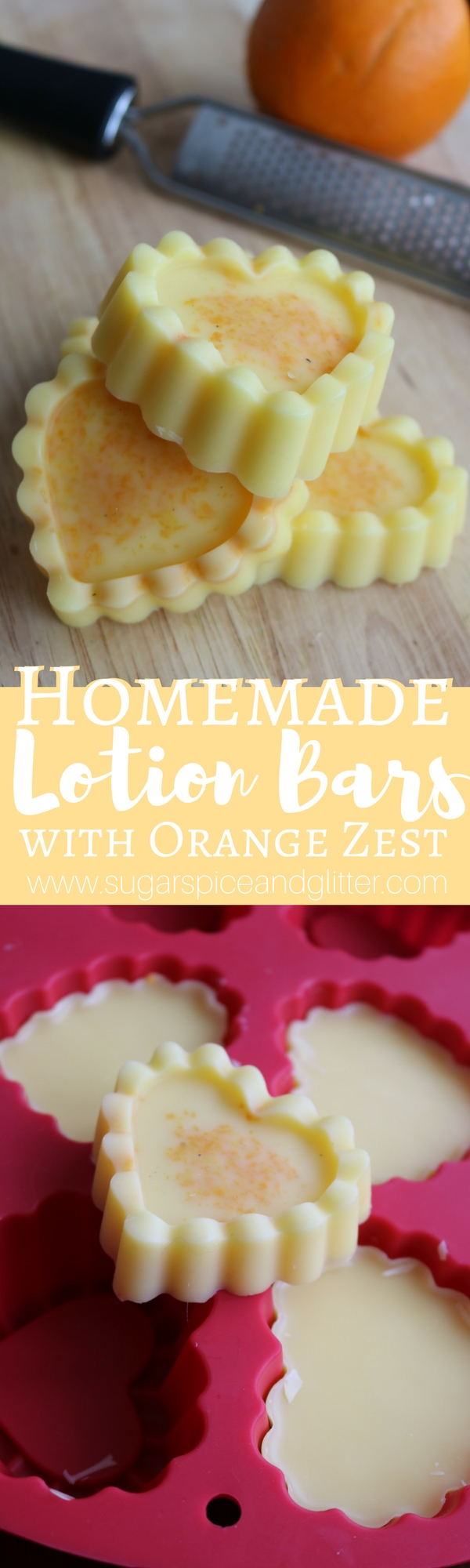 Homemade Lotion Bars with essential oils and fresh orange zest are a great way to moisturize on the go. They are not messy and are perfect for travel or homemade gift giving