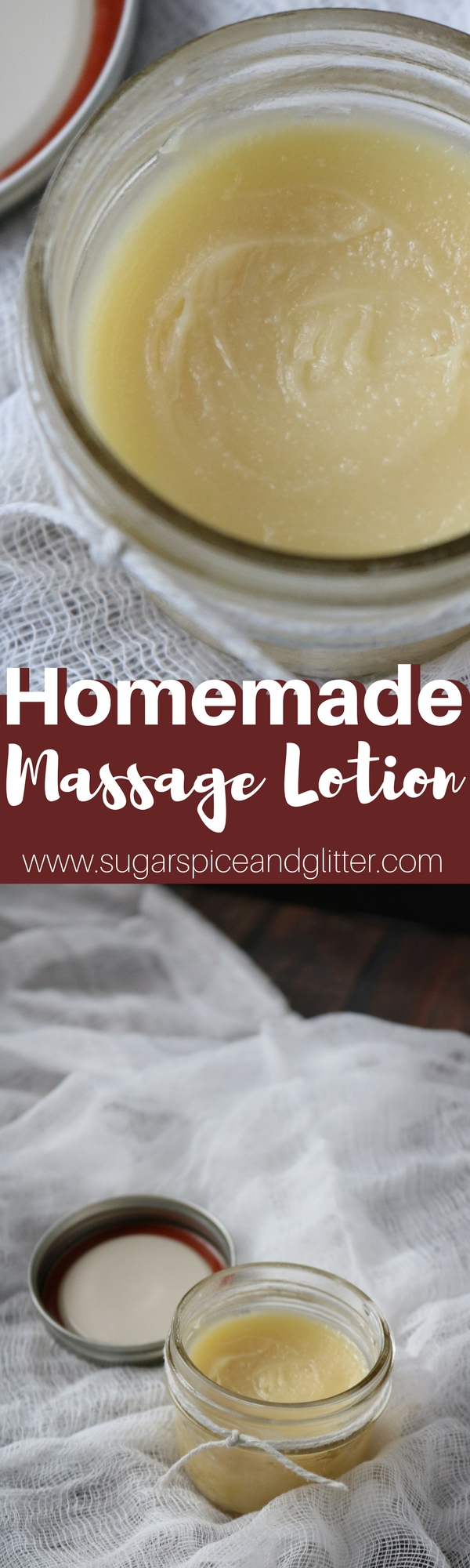 Homemade Massage Lotion perfect for bedtime back rubs or a relaxing foot massage. Massage oil made with essential oils, beeswax, shea butter and coconut oil