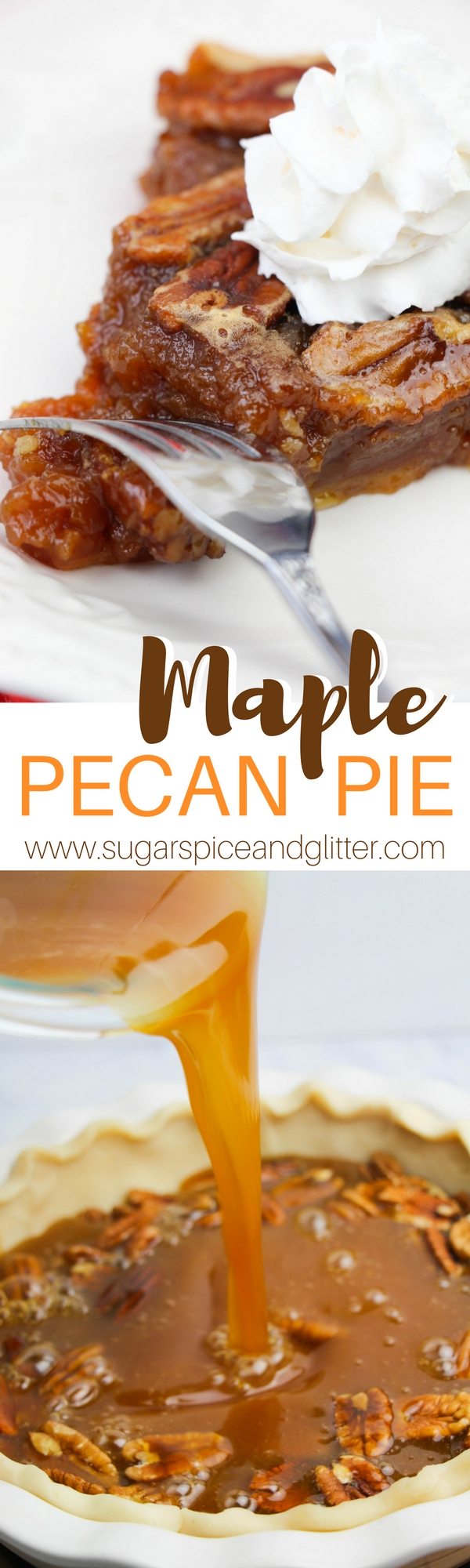 This Maple Pecan Pie recipe is made with no corn syrup and a foolproof pie crust that is buttery and flakey. This is the best Pecan Pie you will ever make!