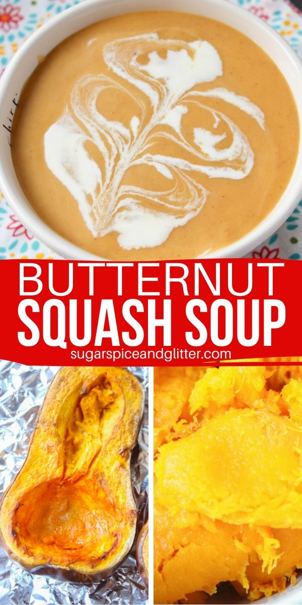 An easy roasted butternut squash soup recipe that your kids will love - the perfect fall meal for busy moms. A touch of added sweetness brings something unexpected and helps make this soup super kid-friendly
