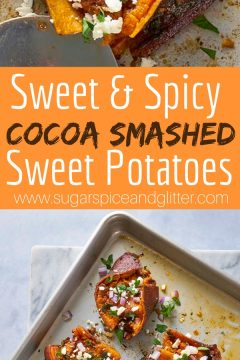 Sweet & Spicy Cocoa Smashed Sweet Potatoes