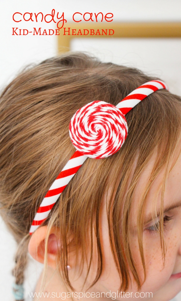 Peppermint Swirl Headband - a Candy Cane Craft for kids that's a super cute addition to a kids' Christmas outfit