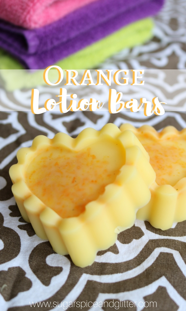 Easy Homemade Orange Lotion Bars are perfect for moisturizing without the mess - and are TSA-compliant