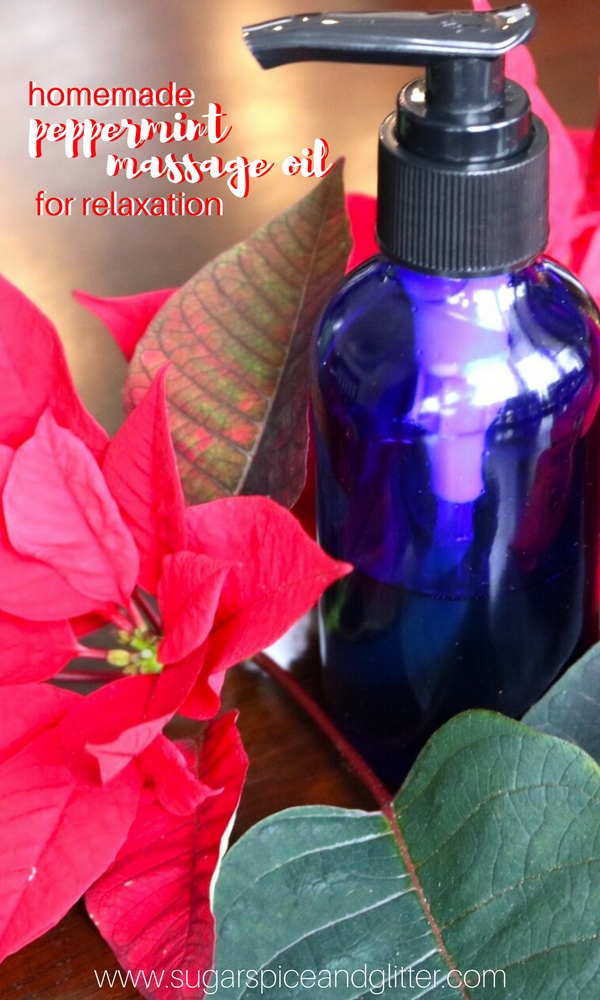 This DIY Massage oil is an easy homemade gift with peppermint essential oil perfect for relaxing tight muscles