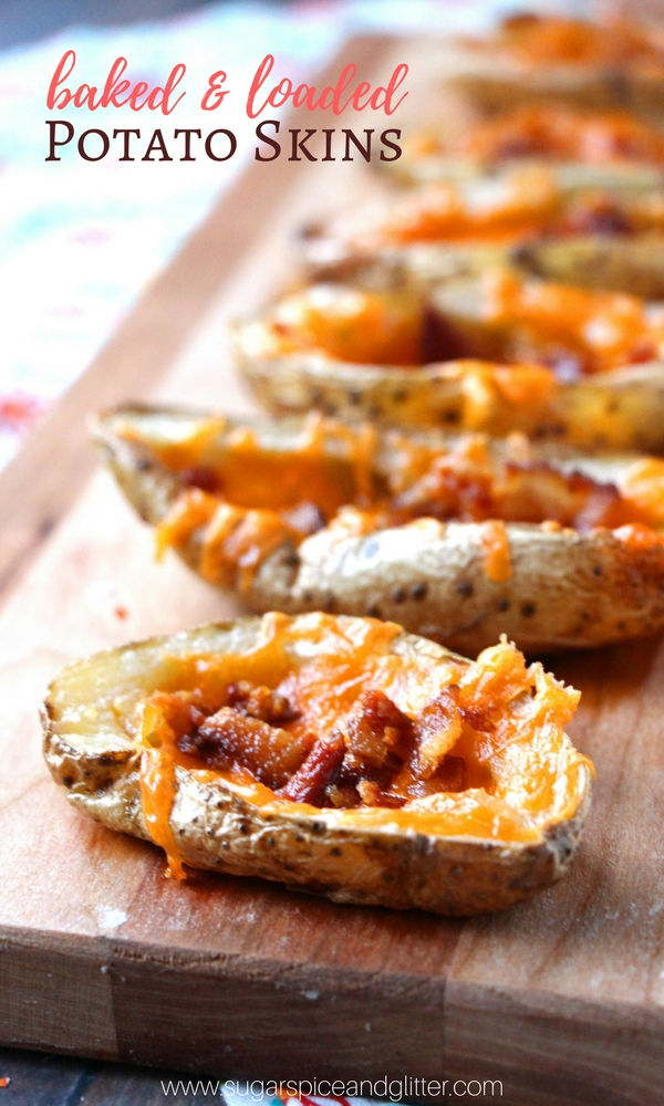 The secret to easy homemade potato skins? Brushing them with a bit of oil and baking them - and then loading them with cheese and bacon