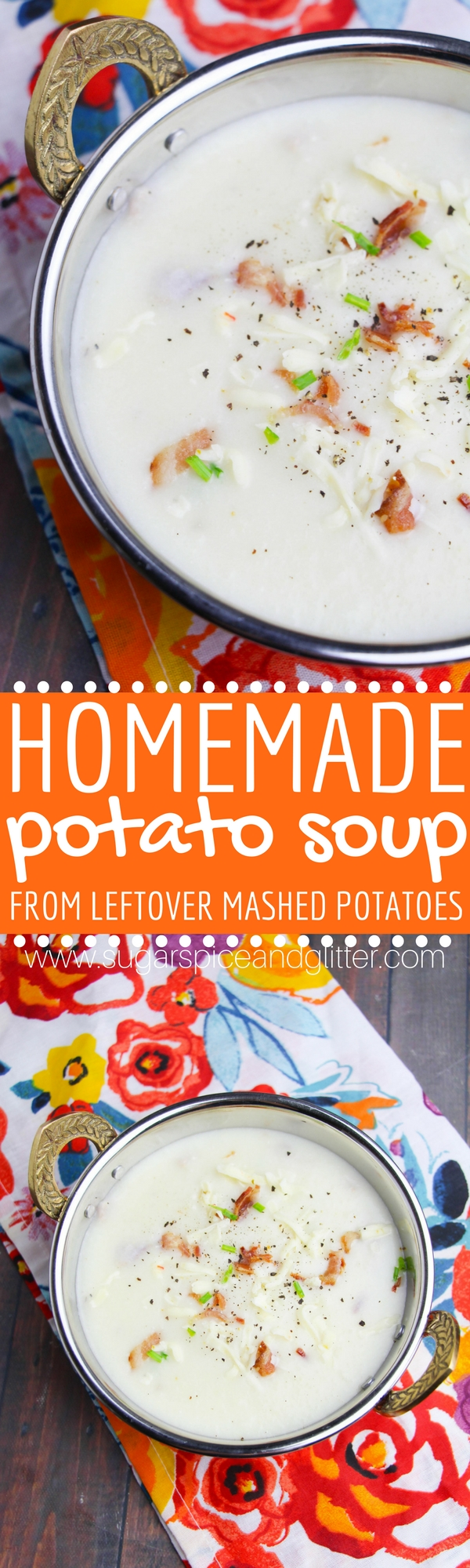Homemade potato soup that you can make from leftover mashed potatoes. A delicious thanksgiving appetizer or a way to use up thanksgiving leftovers. Not only is this homemade potato soup tastier than the canned version, it's cheaper to make a giant batch of it and you can add in whatever mix-ins you want.