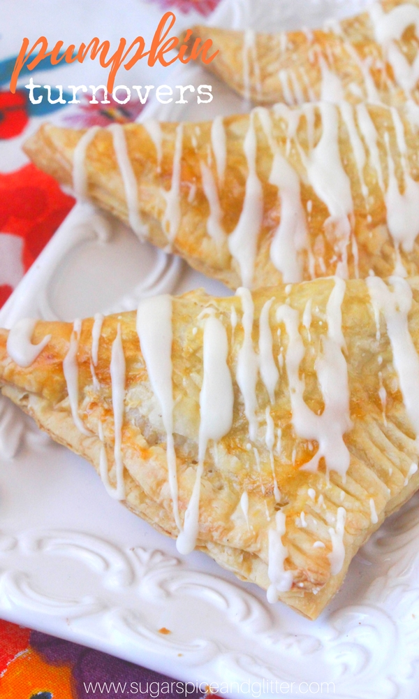These pumpkin turnovers are flaky, buttery and melt-in-your-mouth perfection. The tender crust gives way to a creamy, sweet and perfectly pumpkin-spiced filling. A treat at a fall brunch, or alongside an afternoon cup of coffee