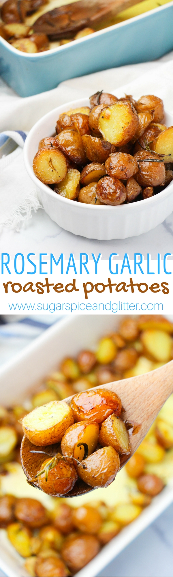A delicious and easy roasted potato side dish, these Rosemary Garlic Roasted Potatoes are one of our families favorite ways to enjoy the king of all root vegetables