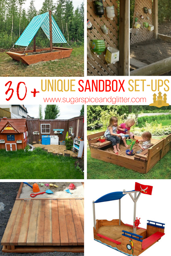 Unique Sandbox Ideas - from DIY Sandbox plans to Unique Sandboxes from Etsy, transform your backyard into a magical play space with built-in sand sensor play